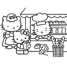 Little Kitty as Chef Coloring Pages