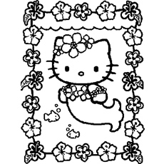 Little Kitty as a Mermaid Coloring Pages
