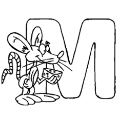 Alphabet M for Mouse Coloring Page to Print