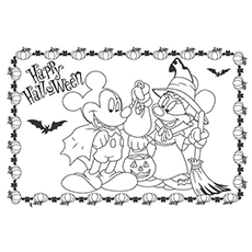 mickey mouse celebrates halloween coloring pages