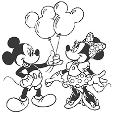 Mickey Giving Balloons To Minnie Coloring Pages