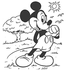Mickey Mouse On A Sunny Day Reading Stories Coloring Sheet