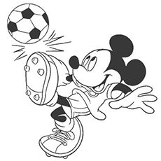 Mickey Mouse Playing Football Coloring Pages