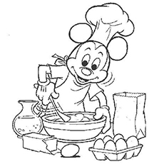 Mickey Mouse Is Baking A Cake Coloring Pages