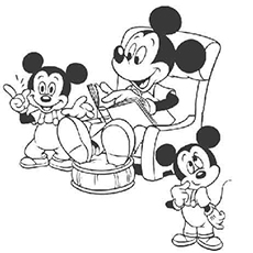Mickey Reading Stories Coloring Sheet for Kids
