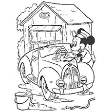 Mickey Washing His Car Coloring Pages