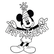 mickey wishes happy birthday numbered candles for birthday coloring page
