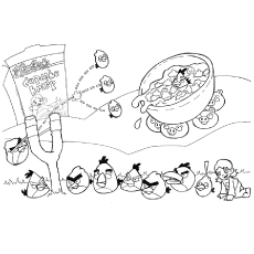 Naughty Pigs and the Cereal Bowl Coloring Pages