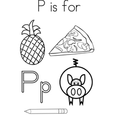 Alphabet P for Pizza and Pig Coloring Pages