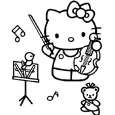 Hello Kitty Plays Violin Coloring Pages