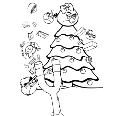 angry birds ready for christmas coloring pages