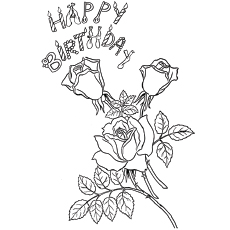 Roses for Birthday Coloring Pages