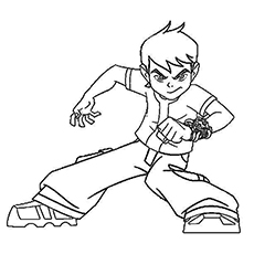Serious Side of Ben 10 Coloring Pages