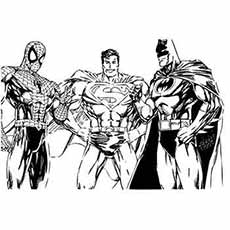 Spiderman Superman and Batman in One Frame Coloring Pages