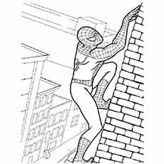 spiderman climbing on wall coloring pages - Spiderman Coloring Page