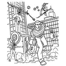 Spiderman Catching the Bank Robbers Coloring pages