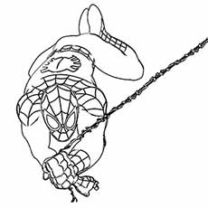 spiderman swining on web rope printable coloring image - Spiderman Coloring Pages Printable