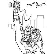 Spiderman Saving Girl Coloring Pages