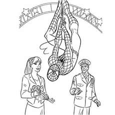 Spiderman Hanging Up Side down and Talking to a Girl Coloring Pages