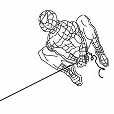 Super Powers Of Spiderman Shoots His Web Swinging On Coloring Pages