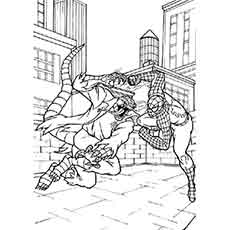 spiderman fighting with dragon monster coloring pages - Spiderman Coloring Pages Printable