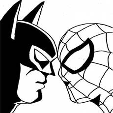 Batman And Spiderman Face To Coloring Sheets