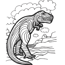 Coloring Page Of Striped Dinosaur