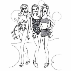 stylish beach barbie coloring pages - Printable Barbie Coloring Pages