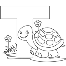 Alphabet T for Tortoise Coloring Pages