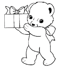 Teddy Brings The Gift Coloring Pages
