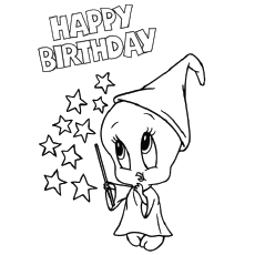 tweety birthday coloring page - Coloring Pages For Happy Birthday
