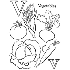 V for Vegetables Coloring Pages
