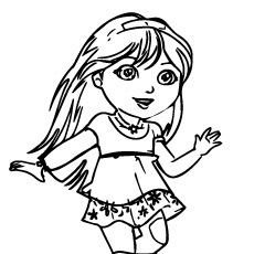 Dora Playing Alone Coloring Page to Print