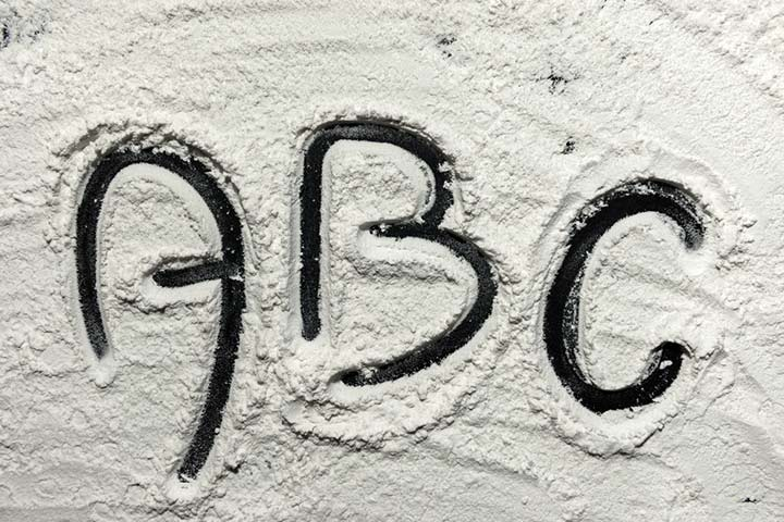 Writing on the flour