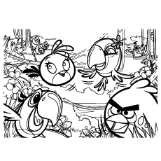 Angry Birds Big Puzzle Picture Printable to Color