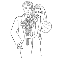 Barbie and Ken Coloring Page for Girls
