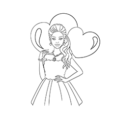 Barbie Valentine Dress Up Game Coloring Pages for Kids