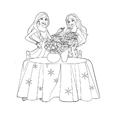 Barbie with Flower Vase Coloring Sheet to Print