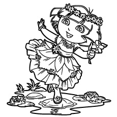 Dora Beautifully Dressed Coloring Page