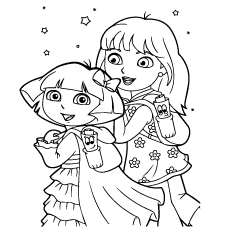 Dora And Friend Going To School Coloring Sheet