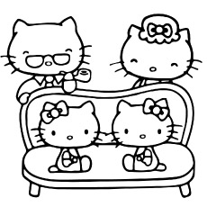 Beautiful Family Of Hello Kitty Coloring Sheet to Print
