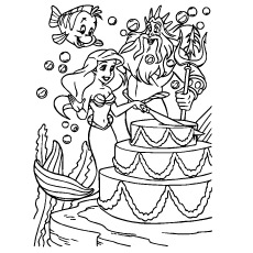 Happy Birthday Ariel Coloring Pages