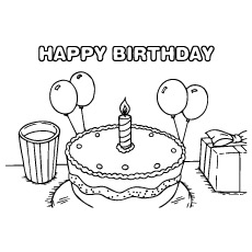 Happy Birthday Cake with Single Candle on It Coloring Pages