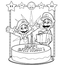Mario Celebrating Birthday With His Brother Coloring Pages