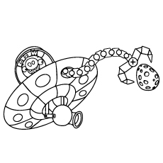 King Pig Space Ship Coloring Sheet to Print