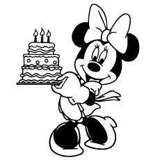 Coloring Pages of Minnie Mouse with Happy Birthday Cake