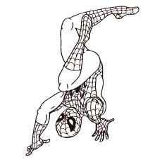 Spiderman Upside Down Balancing on Hands Coloring Pages