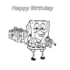 Spongebob With Birthday Gift Coloring Pages To Print