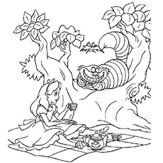 cheshire cat coloring pages - Alice Wonderland Coloring Page