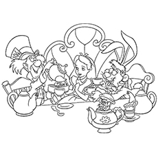 Tea Party at Wonderland Coloring Page
